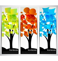 Set of banners with tree vector image vector image
