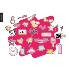 Set of contemporary girly patches elements vector