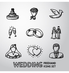Set of handdrawn wedding icons - cake flowers vector image