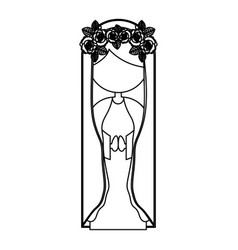 Silhouette figure fasceless virgin maria cartoon vector
