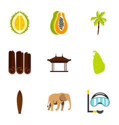 Sri lanka attractions icons set flat style vector