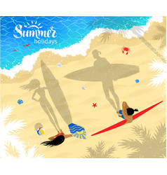 surfers man and woman standing near water vector image vector image