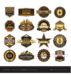 Vintage retro golden labels black and white vector