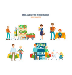 Walking in shopping center procurement of goods vector