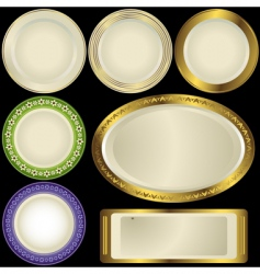 white plates with ornament vector image vector image