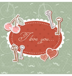 Valentine romantic love card with keys and hearts vector