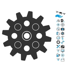 Gearwheel icon with copter tools bonus vector