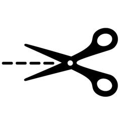 Big scissors with cut lines vector