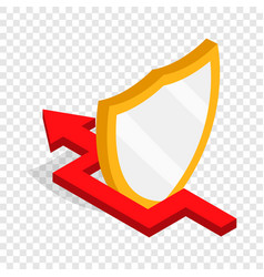 Protection shield and red arrow isometric icon vector