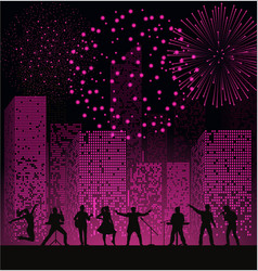 Band show on night city background with fireshow vector