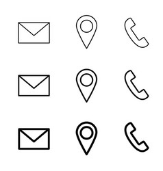 contact line web icons mail telephone and vector image