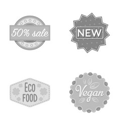 Percentage sale new eco food veganlabelset vector