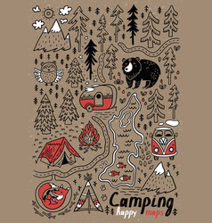 Hand drawn maps print for camping and vector