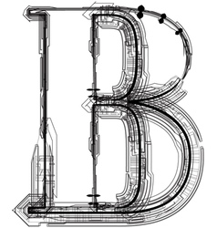 Technical typography letter b vector