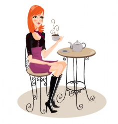 Cafe girl vector