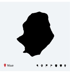 High detailed map of niue with navigation pins vector
