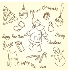 cute Christmas doodles vector image