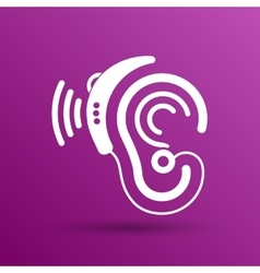 Ear icon hearing aid ear listen sound vector