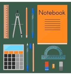 School supplies flat set vector image