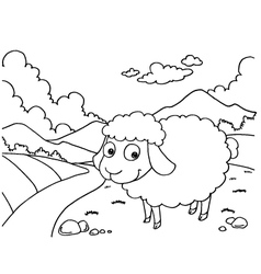 Sheep colouring pages vector