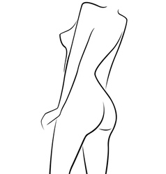 Abstract female half turn back outline vector