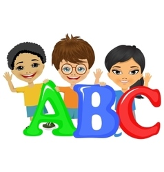 Kids standing behind letters vector