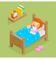 Little girl sleeping with teddy bear isometric vector