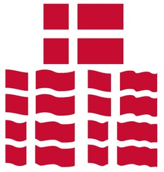 Flat and waving flag of denmark vector
