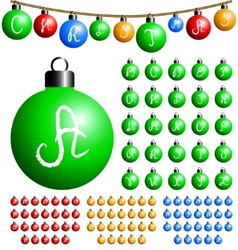 Christmas balls alphabet vector