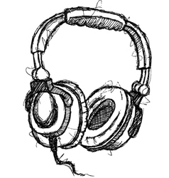 scribble series - headphones vector image