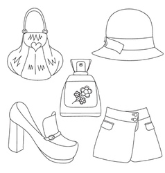 Set of outlined footwear handbag skirt hat perfume vector