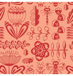 Doodle decorative seamless background with flowers vector