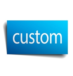 Custom blue square isolated paper sign on white vector