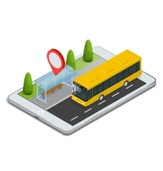 Public transport bus stop with online schedule vector