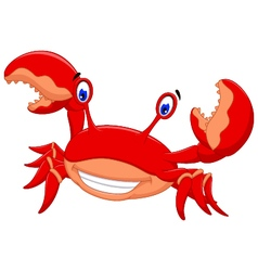 Funny crab cartoon posing vector