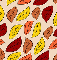 Autumn leaves seamless pattern natural background vector image