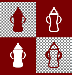 Baby bottle sign bordo and white icons vector