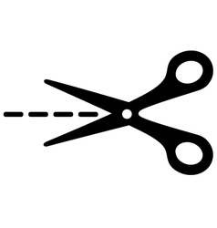 big scissors with cut lines vector image vector image