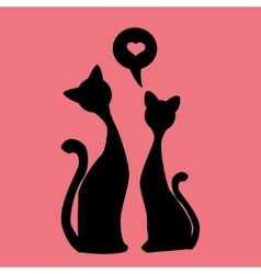black silhouettes of Two lovely kittens vector image vector image