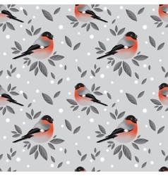 Bullfinches and snow pattern vector image