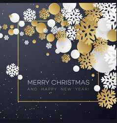 christmas background with golden and white paper vector image vector image