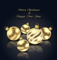 Christmas Golden Balls with Reflection on Black vector image vector image