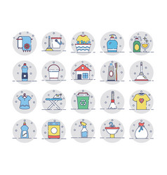cleaning colored icons 2 vector image vector image