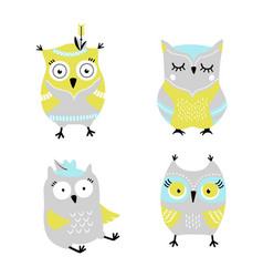 cute cartoon owls hand drawn set vector image
