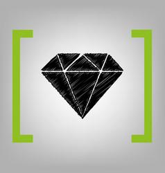 Diamond sign black scribble vector