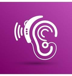 Ear icon hearing aid ear listen sound vector image
