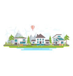 Eco-friendly city district - modern flat design vector