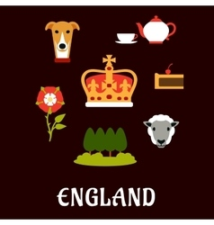 England traditional symbols flat icons vector