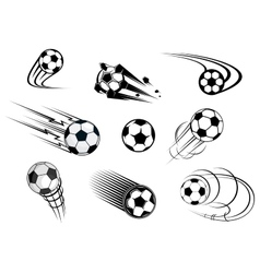 Fflying soccer balls set vector