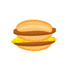 Flat double cheeseburger with chop and cheese vector